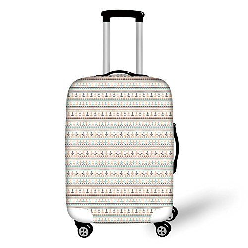 (Travel Luggage Cover Suitcase Protector,Anchor,Wavy Lines Little Dots and Stripes Border Pattern Marine Travel Voyage Decorative,Pale Blue Brown Orange,for Travel)