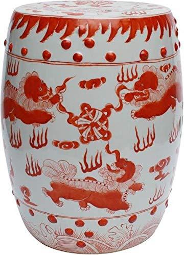 EuroLuxHome Garden Stool Lion Red Porcelain Polished Nickel Ceramic New Handmade Hand