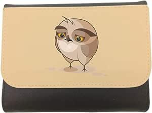 محفظة جلد، مقاس 11cm X 14cm،  بتصميم الشعور بالاحباط - بومة