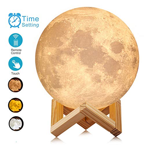 ACED 7.1 Inch Large Moon Lamp Touch Sensor Control Color Changing Dimmable Baby Night Light LED Rechargeable Battery Operated Cordless...