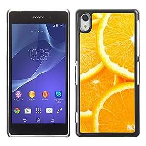 EJOY---Cubierta de la caja de protección la piel dura para el ** Sony Xperia Z2 ** --Modelo anaranjado de la rebanada