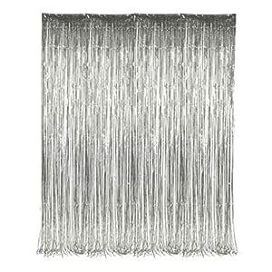 200cm*100cm Metallic Tinsel Foil Fringe Curtains for Party Photo Backdrop Wedding Decor (Silver,1 Pack)