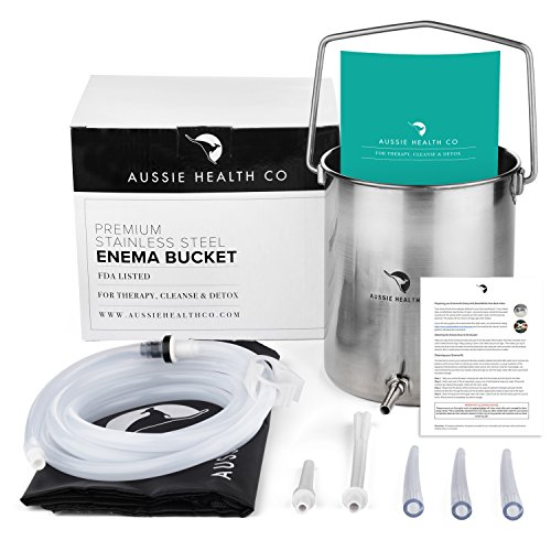 Aussie Health Co Non-Toxic Stainless Steel Enema Bucket Kit. 2 Quart, Phthalates & BPA-Free. Reusable For Home, Coffee, Water Colon Cleansing Detox Enemas. Includes Nozzle Tips and Storage Bag (Coffee Home Equipment)