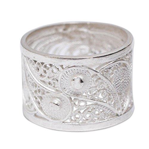 (NOVICA .925 Sterling Silver Handcrafted Filigree Ring, Yin Yang Glow' )