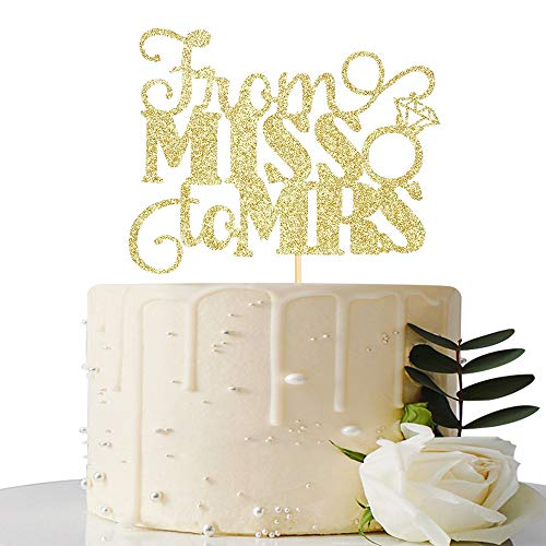 Gold Glitter From Miss to Mrs Cake Topper - Bridal Shower Cake Topper- Bachelorette/Bride To Be Cake Decoration