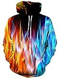 YAJOOEY Men's 3D Galaxy Printing Hooded Sweatshirt Sweaters Hoodies XX-Large