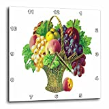 apples grapes - 3dRose Tall Basket of Fruits with Grapes, Peaches, Apples and Grape Leaves - Wall Clock, 13 by 13-Inch (dpp_170317_2)