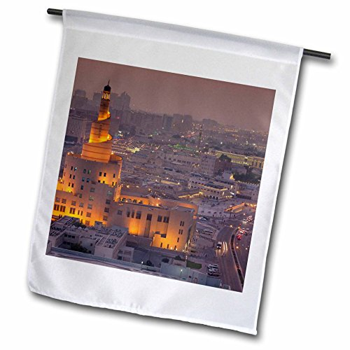 3dRose Danita Delimont - Cities - Qatar, Doha, FANAR, Qatar Islamic Cultural Center, elevated view, dusk - 12 x 18 inch Garden Flag - View Square Gulf
