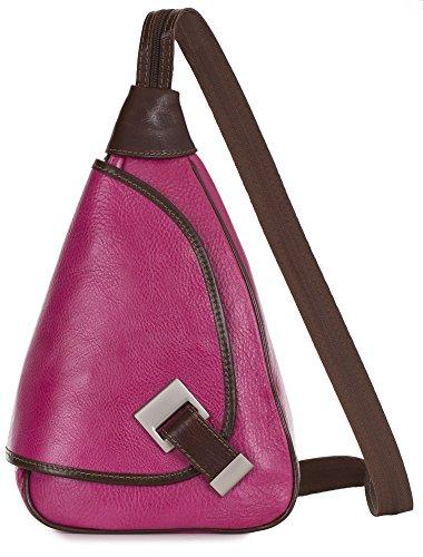LIATALIA Small Backpack Rucksack Duffle bag in Genuine Italian Leather- MILA Hot Pink - Brown Trim