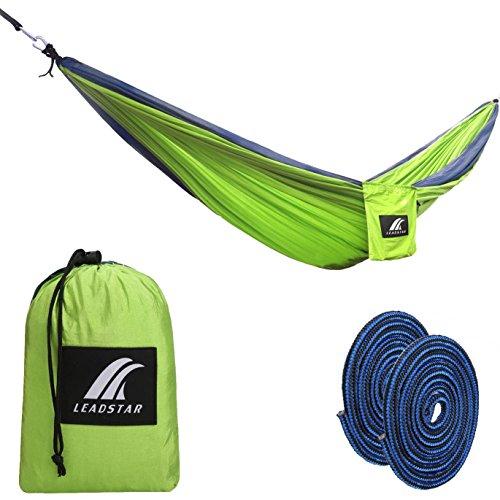 Double Hammocks, 210T Parachute Nylon Portable Ultralight Camping Hammocks for Backpacking, Travel & Outdoors (Green)