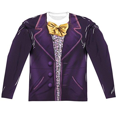 Trevco Willy Wonka & The Chocolate Factory Wonka Costume Adult Long Sleeve T-Shirt Heather X-Large]()