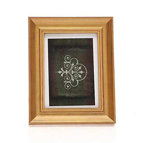 5x7 Inches Rectangular Solid Wood Desktop Picture Frame with Glass Front (5x7 Golden) (Purple And Gold Picture Frame)
