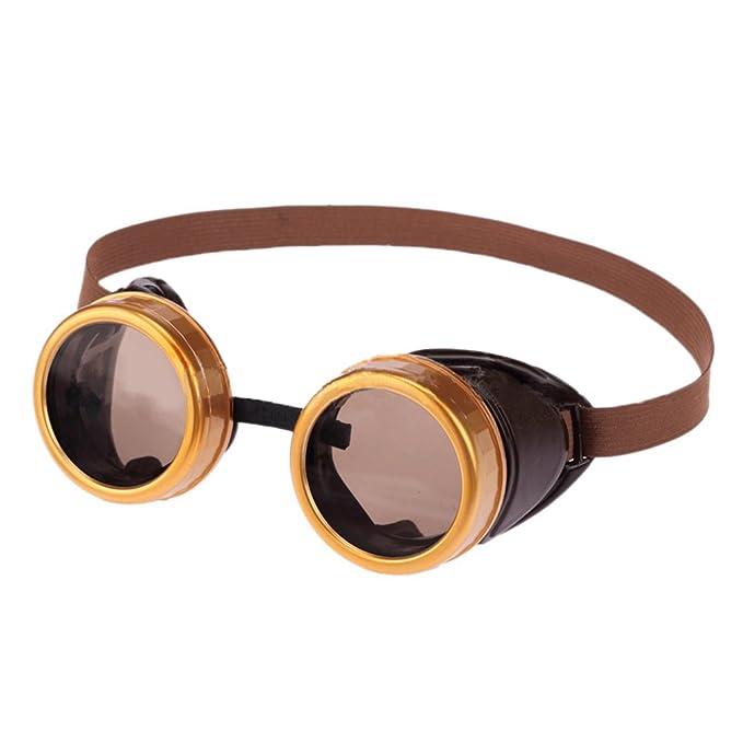 Byqny Retro Steampunk Estilo Gótico Gafas de Soldadura Redondo Rústicas para Protección Contra el Viento y el Polvo: Amazon.es: Ropa y accesorios