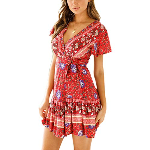 Nantersan Women's Summer Boho Beach Split Floral Print Ruffle V- Neck Swing Mini Dress with Belt Wine Red