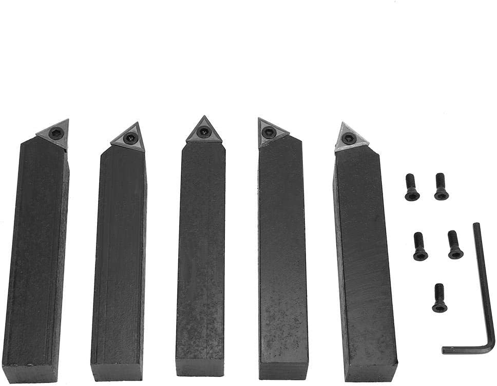 5 Pcs 3//4In C6 Carbide Tungsten Forged Steel Indexable Cemented Carbide Insert Turning Tool Bit Set for Lathe Machining Turning,Metal Lathes Facing,Boring Chamfering,Threading and V-grooving