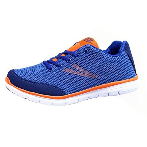 Mens Running Trainers Light Weight Shock Absorbing Jogging Gym Walking Fitness Sports Shoes New Mesh Trainer Shoes Navy-orange hr05u