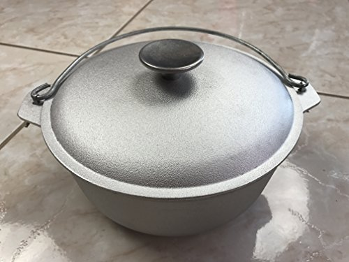 NEW 2 quarts (2 litter or 0.5 gallon ) kitchen outdoor Cooking camp cookware Cast Aluminum pot dual handles camping Dutch Oven with Lid vintage style kazan казан Campfire / Stove