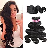 ISEE Hair Unprocessed Virgin Brazilian Body Wave Human Hair Extension Weave 3 Bundles With 4x4 Free Part Lace Closure Remy Human Hair Body Wave Natural Black(18''&20''&22''with 16''closure)