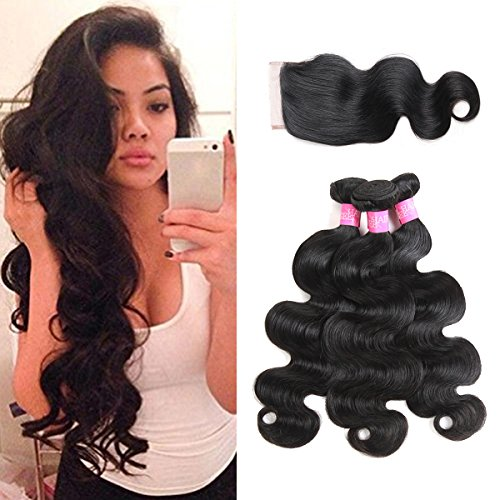 ISEE Hair Unprocessed Virgin Brazilian Body Wave Human Hair Extension Weave 3 Bundles With 4x4 Free Part Lace Closure Remy Human Hair Body Wave Natural Black(18''&20''&22''with 16''closure) by ISEE