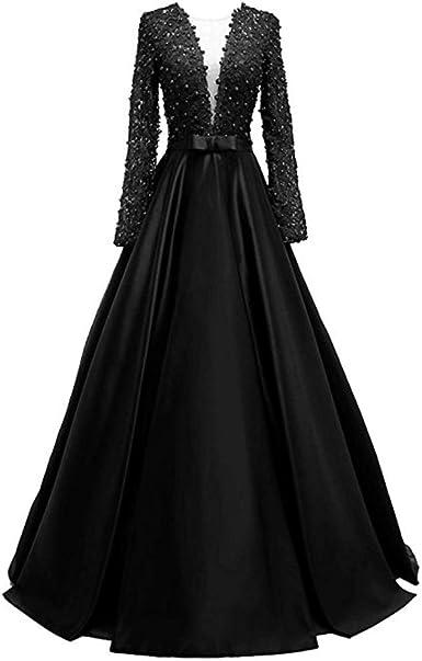 Snowskite Womens V-Neck Long Black Formal Evening Dress