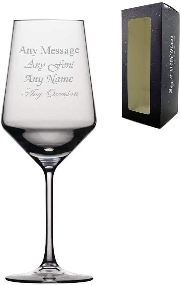 Caja de regalo de 390 ml para copa de vino tinto con grabado personalizable para boda, cumpleaños, Navidad: Amazon.es: Hogar