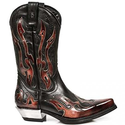 NEWROCK West 7921 - S2 Cowboy Leather Black Red Flame Zip Boots dZMPxt4