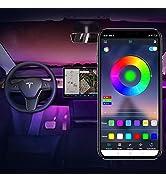 Model Y Tesla Model 3 Front and Rear Footwell Lights Interior Neon Light RGB LED Strip Lights wit...