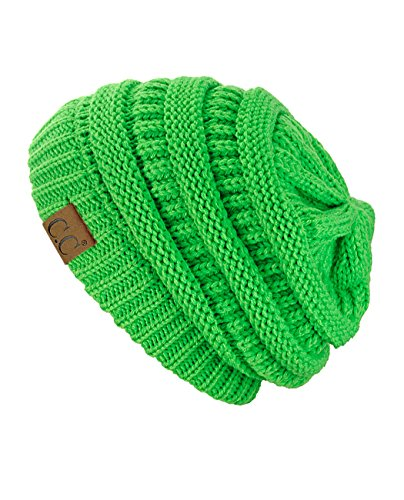 Trendy Warm Chunky Soft Stretch Cable Knit Slouchy Beanie Skully HAT20A, Neon (Green Knit Beanie Cap Hat)