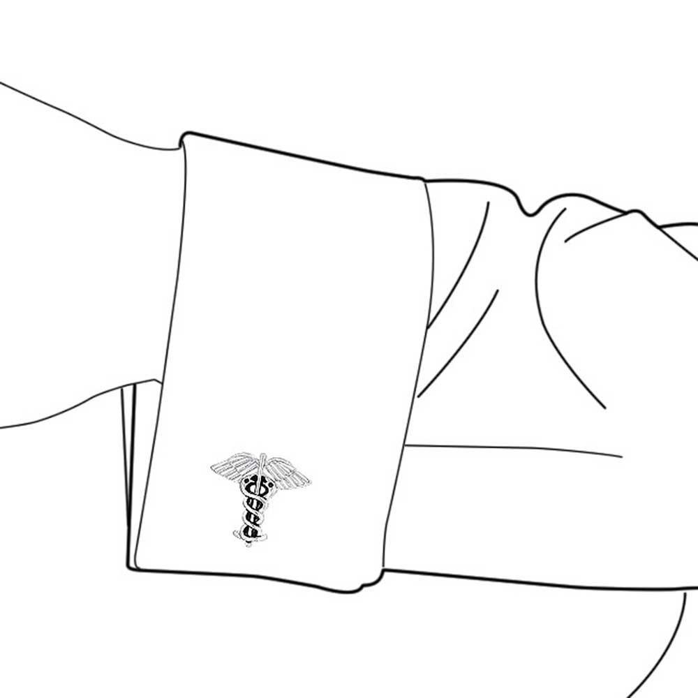 Caduceo M/édico M/édicos Insignia Camisa Gemelos para Hombres De Graduaci/ón En Tono Plateado De Lat/ón Bisagra Acero Volver