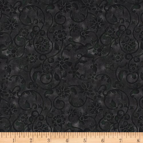 Santee Print Works 108in Tonal Scroll Quilt Backing Black Fabric By The (Tonal Prints Cotton Quilt Fabric)