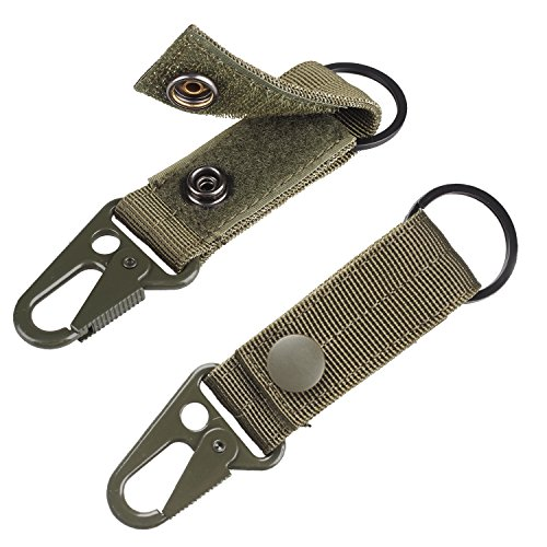 Strap Key Ring - XTACER Tactical Molle Key Ring Gear Nylon Gear Keeper Pouch for Molle Bags Webbing Attachment Strap (Green)
