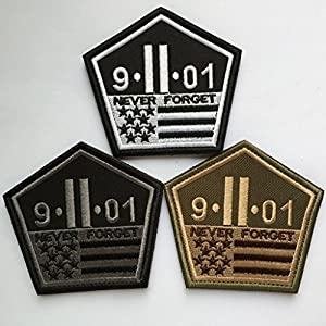 "SpaceAuto Never Forget The September 11 Attacks The Pentagon 9/11 Nation Tactical Morale Desert Badge Hook & Loop Embroidery Patch 3.42"" x 3.26"" Sized"