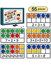 Torlam Giant Magnetic Ten-Frame Set - Math Manipulatives for Elementary - 5 Ten Frames & 55 Magnetic Math Counters for Kids, Math Games for Kindergarten (Upgraded Version for Hand-held & 2 Black Pens)