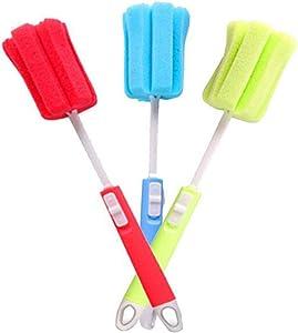 3Pcs 11.4Inch Sponge Clean Brush With Adjustable Plastic Handle For Coffee Glasses Pot Milk Cup Mugs Wine Bottle Baby Bottles Kitchen Clean Dish Washing Feeding-Bottle (Color Random)
