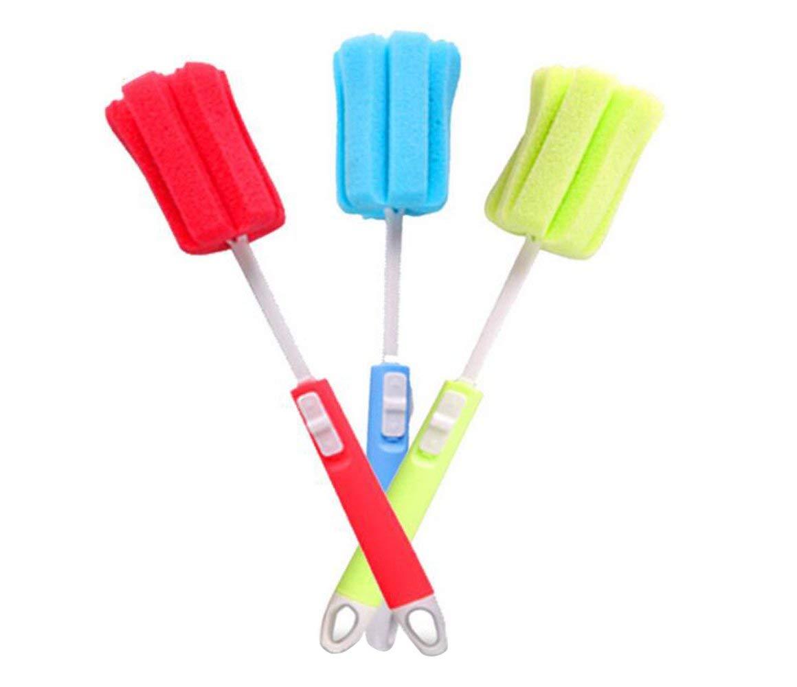 bicchieri e tazze colore casuale 3 spazzole in spugna per lavare i piatti morbide per la pulizia di biberon con manico lungo regolabile