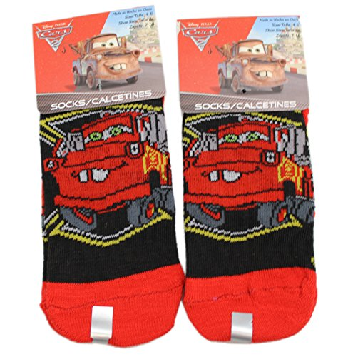 Disney Pixar's Cars Mater Black/Red Kids Sock Set (Size 4-6, 2 Pairs)