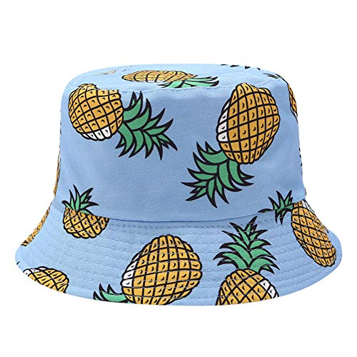 - Caslia ☀️☀️2019 Men Women Printing Double-Sided Wearing Visor Travel Folding Basin Fishing Hats Gifts (Blue)