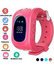 Hangang Reloj GPS Niño smartwatch Niño Rastreador Niños Reloj de Pulsera teléfono SIM Anti-Lost Sos Pulsera Parent Control por iOS y Android Smartphone Q50