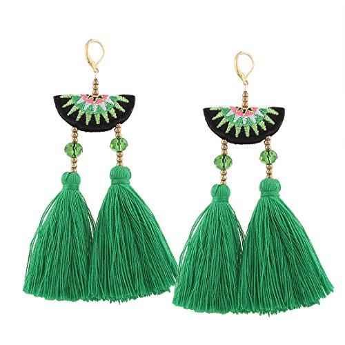 Shevalues Bohemian Tassel Earrings Gold Beaded Yarn Tassel Earrings Ethnic Chandelier Tassel Dangle Earrings