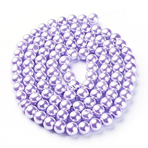 Lavender Round Beads (AMZ Beads - 6MM Glass Round Pearls Jewelry Making Loose Pearl Beads (Lavender))