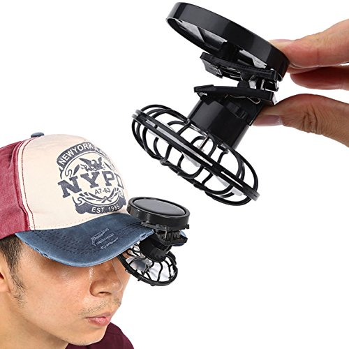 JUBILATE Summer Portable Mini Solar Powered Clip Fan Must-Have Hat Cap Fine Good for Mountain Climbing, Camps and Wilderness Survival ()