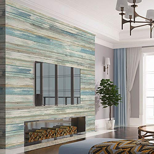 Kitchen Wallpaper Green - Blue Faux Wood Grain Contact Paper Self Adhesive Waterproof 11.8 x 118'' Removable 3 D Panes PVC Stick and Peel Wallpaper for Kitchen Cabinets Countertops Sticker Retro Nostalgia Country Style