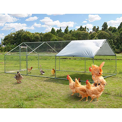 Large Metal Chicken Coop Walk-in Poultry Cage Hen Run House Rabbits Habitat Cage Spire Shaped Coop with Waterproof and Anti-Ultraviolet Cover for Outdoor Backyard Farm Use (10' L x 20' W x 6.4' H)