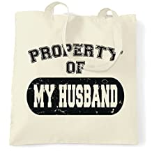 Property Of My Husband Distressed Look Funny Valentines Gift For Him Mens T-shirt Shopping Tote Bag Cool Funny Gift Present Bag