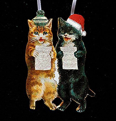 Caroling Kittens Ornament Handcrafted Wood, Black Tuxedo Cat Orange Cat, Musician Cat Lover Gift, Wool Knit Hat Santa Hat, Christmas (Black Enameled Cat)