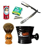 Classic Samurai Men's Shaving Set with CS102 Stainless Steel Professional Barber Straight Razor Shavette, 100 Derby Single Blades, Pure Badger Shaving Brush, Arko Stick Soap and Porcelain Mug Review
