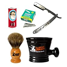Classic Samurai Men Premium Shaving Set with CS-102 Stainless Steel Professional Barber Straight Edge Razor with 100 Count Derby Single Edge Razor Blades, 100% Pure Badger Shaving Brush, Arko Stick Soap and Porcelain Shaving Mug
