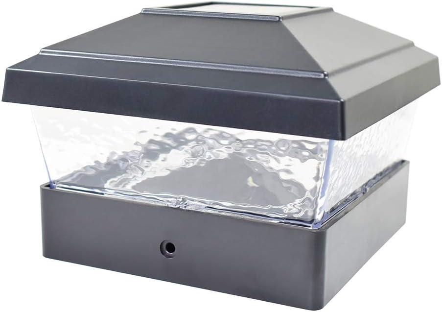 12 Pack Black Outdoor Garden 5 x 5 Solar LED Post Deck Cap Square Fence Light Hammered Lens Landscape Lamp PVC Vinyl
