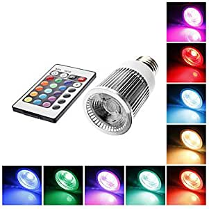 Leedfsw Ships in 24 hours E27 5W RGB Light Remote Controlled LED Spot Bulb (85-265V)