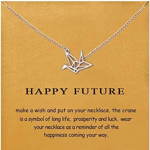Morrenz - 6 Styles Golden Wish Choker Necklace for Women Elephant Key Unicorn Infinite 8 Letter Triangle Paper Crane Pendant Necklace[Paper Crane Sliver]
